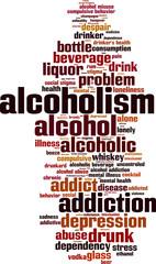 Alcoholism word cloud concept. Vector illustration