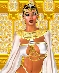 Egyptian digital art fantasy image of a goddess in white.