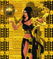 Fantasy art image of a magic woman with gold snake.