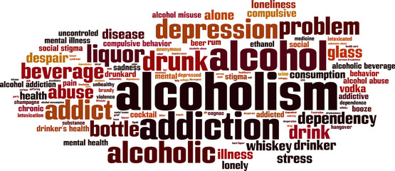 Alcoholism word cloud concept. Vector illustration