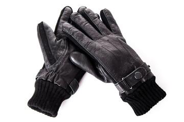 Black leather gloves.  Men's black leather gloves