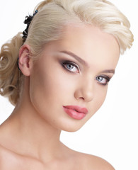 Portrait of Charming Blond Woman with Natural Clean Skin