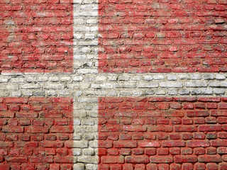 Danemark flag painted on wall