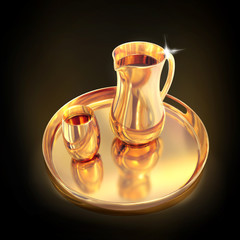 Golden pitcher on a tray. Black  background