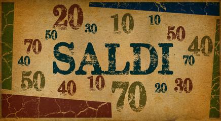 Saldi (Sale in Italian) written on vintage paper textures