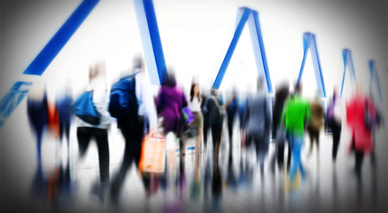 Commuter People Rush Hour Terminal Travel Concept
