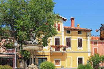 Fountain in city park Pietro Coppo Park. Izola, Slovenia
