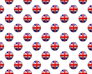 Pattern of Union Jack buttons