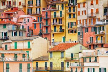 Colourful apartment buildings in Cinque terre, Italy.