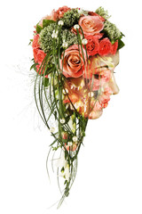 Double exposure portrait of young woman with bouquet of flowers.