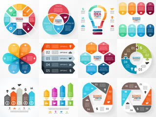 Vector infographics set. Collection of templates for cycle
