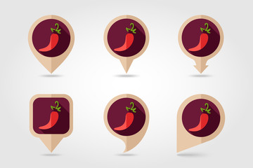 Chili pepper flat icon with long shadow