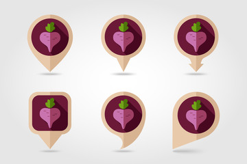 Beet flat icon with long shadow