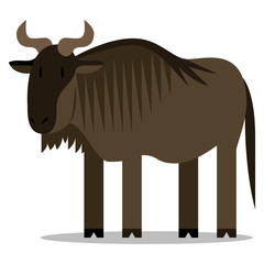Cartoon Wildebeest Isolated On Blank Background