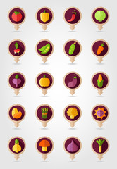 Vegetable mapping pins icons with long shadow