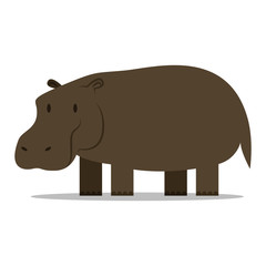 Cartoon Hippo Isolated On Blank Background