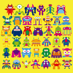 Cartoon Set Of Different Monsters Isolated