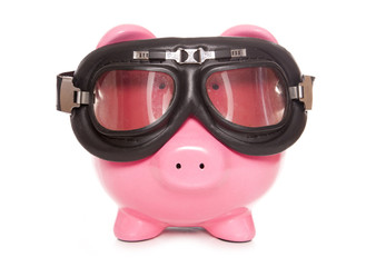 piggy bank wearing googles