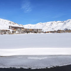 View of Tignes village and lake