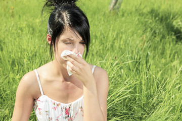 Woman with a flu or an allergy