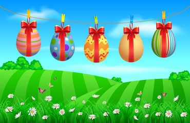 Colorful easter eggs hanging