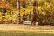 canvas print picture - Sitzbank im Herbst