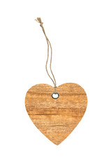 wooden heart sign valentines day with rope knot isolated on whit