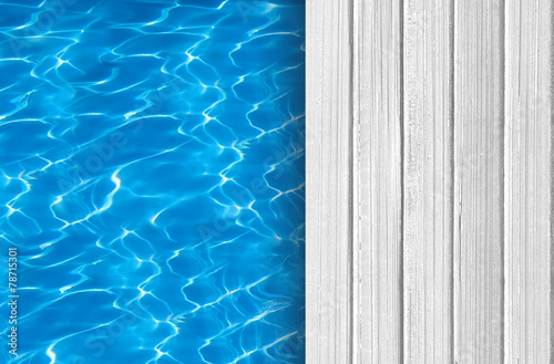 Swimming pool and wooden deck ideal for backgrounds - 78715301
