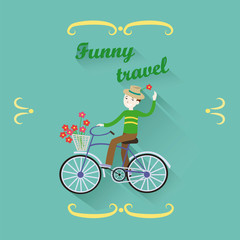 Cheerful smiling man in a hat riding a bicycle with a basket wit