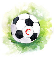 A drawing of a football (soccer) ball with a euro sign