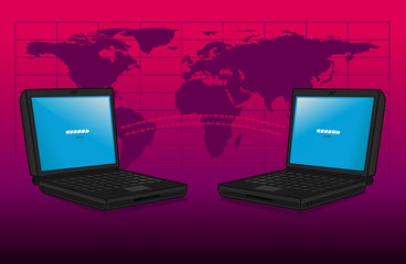 Two laptop computers exchanging data worldwide