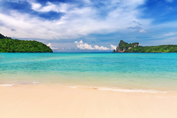 Tropical island with resorts - Phi-Phi island, Krabi Province, T