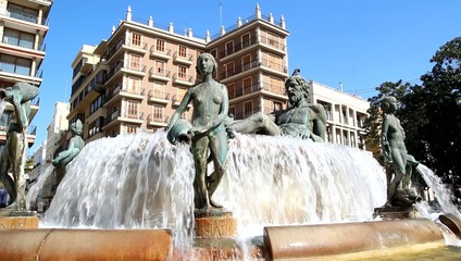 Turia Fountain in the Plaza de la Virgen in Valencia, Spain.