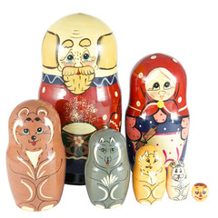Nesting Dolls on fairy tale Kolobok in two rows