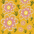 Spring floral yellow pattern illustration