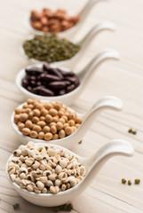 collection set of beans, legumes, peas, lentils on ceramic spoon