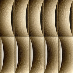 Abstract paneling pattern - waves decoration - leather texture