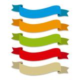 Fototapety Cintas de colores onduladas, etiquetas para titulos