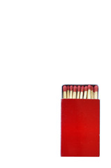 Red matchstick box isolated on white background with clipping pa