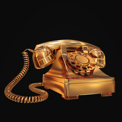 Golden phone on black isolated background.