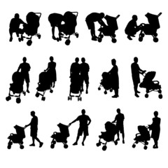 mother and father with baby stroller silhouette