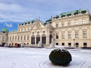 Belvedere Palace snowy day in winter