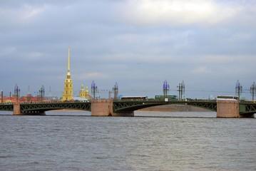 View of Dvortsovy bridge over the Neva river