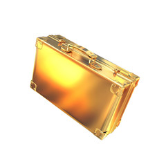 golden briefcase representing  business  on white  background