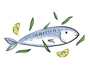 Cute cartoon fish and lemon