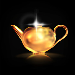 Golden teapot on black  background