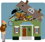 Man preparing to move to a new house packing his belongings