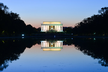 Washington DC, Lincoln Memorial and reflection