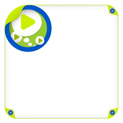 color box for entering text and speech bubble and play symbol
