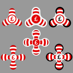 abstract red and white icons and pound sterling symbol
